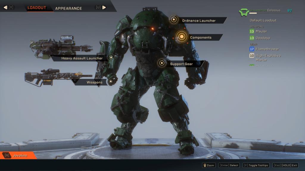 Colossus Anthem içinde kullanabileceğimiz Javelinlerden biri