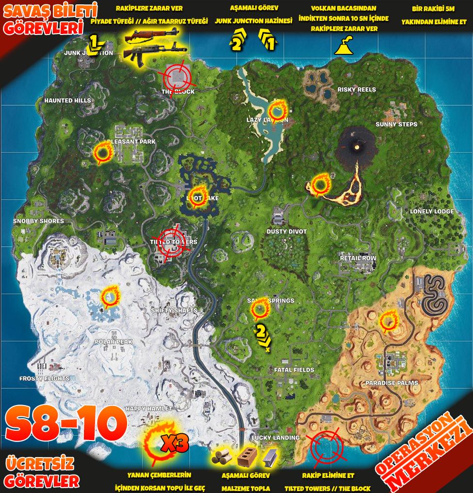 Fortnite 8. Sezon 10. Hafta Görev Haritası