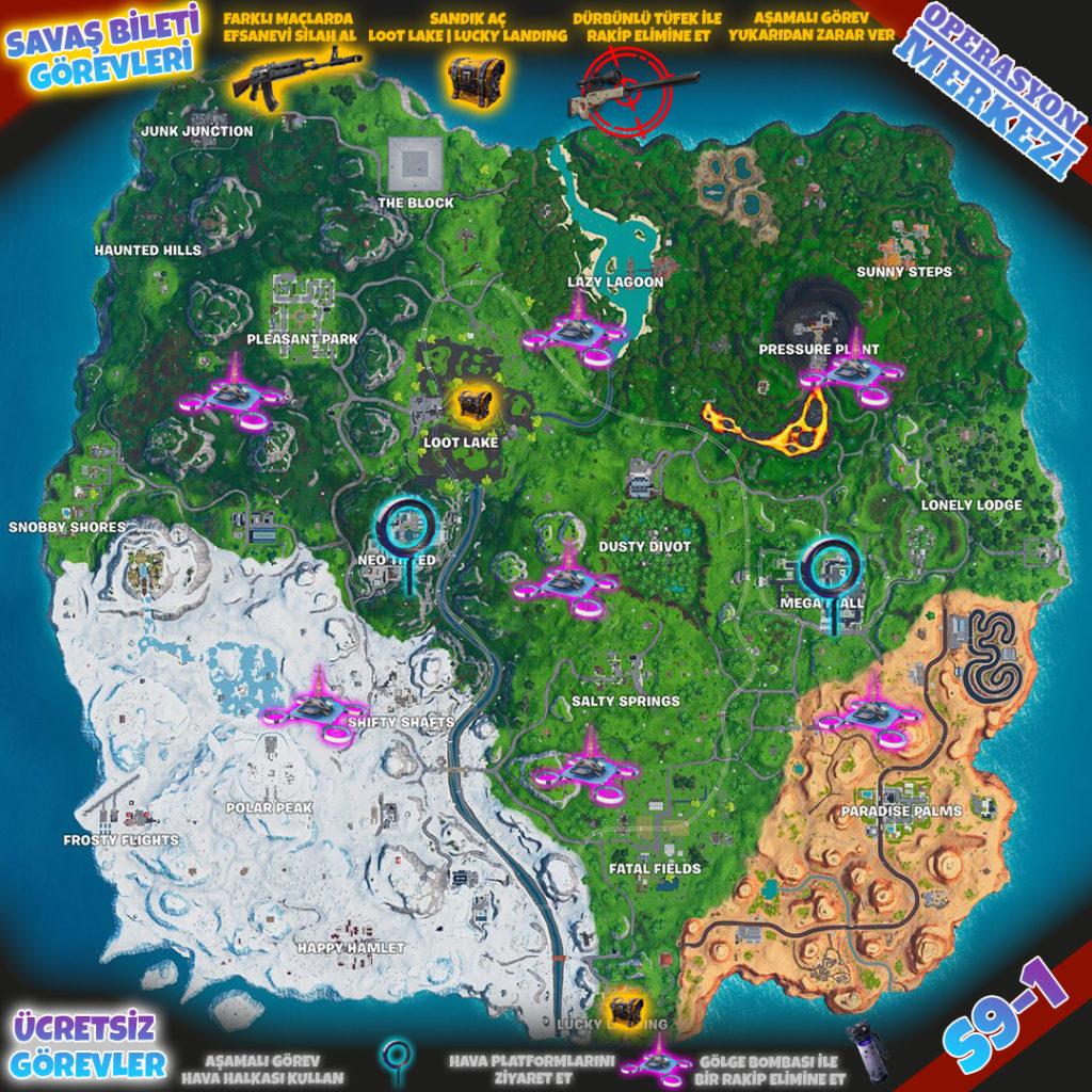Fortnite 9. Sezon 1. Hafta Görev Haritası