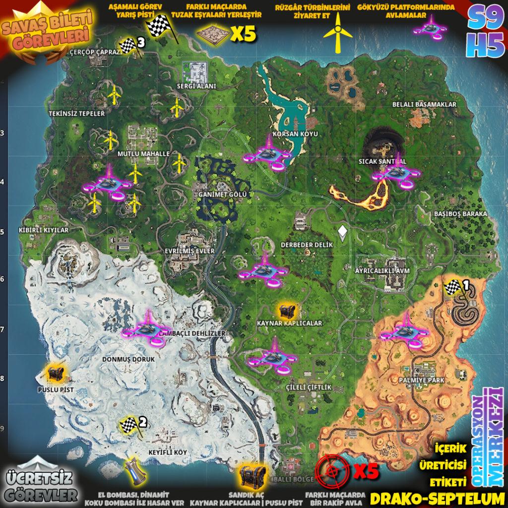 Fortnite 9. Sezon 5. Hafta Görev Haritası
