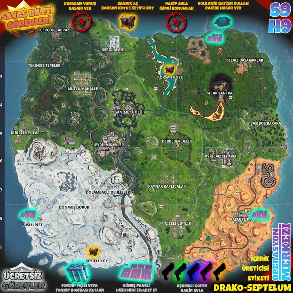 Fortnite 9. Sezon 9. Hafta Görev Haritası
