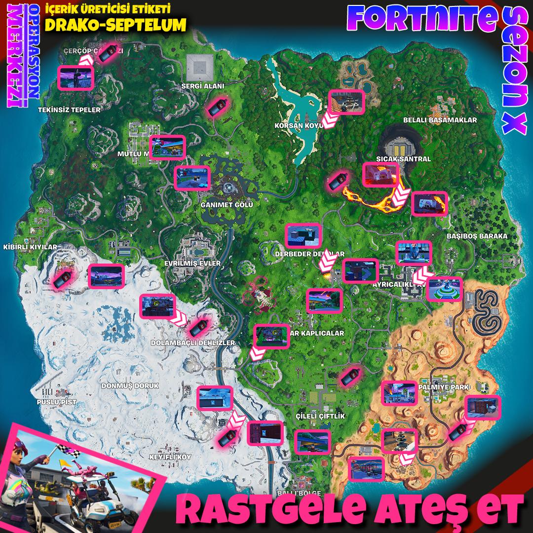 Fortnite Sezon X Rastgele Ateş Et Görev Haritası