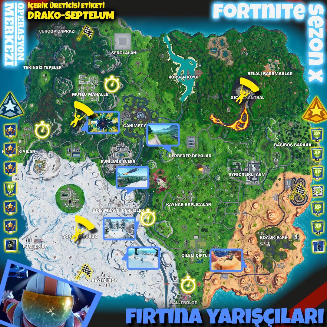 Fortnite Sezon X Fırtına Yarışçıları Görev Haritası