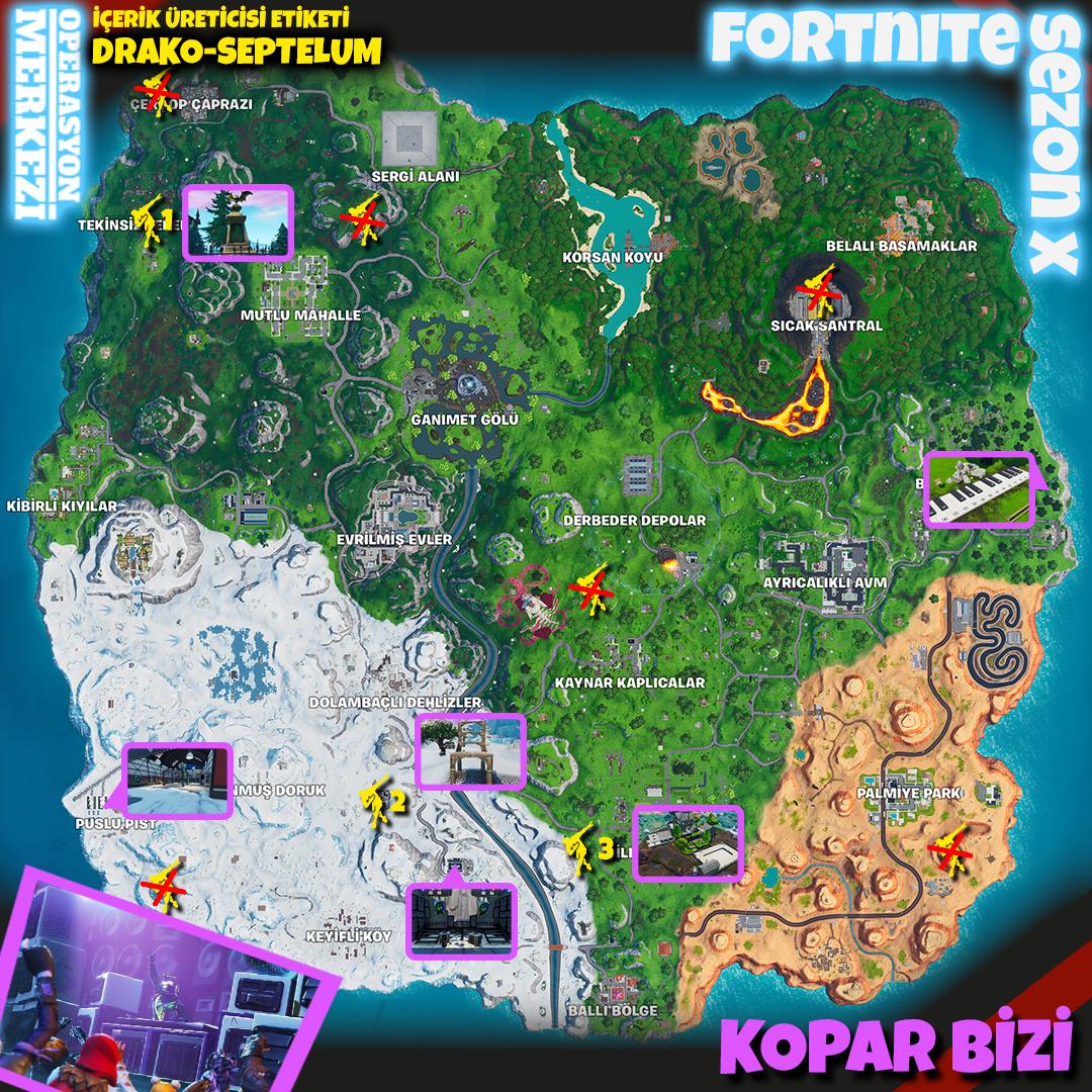 Fortnite Sezon X Kopar Bizi Görev Haritası