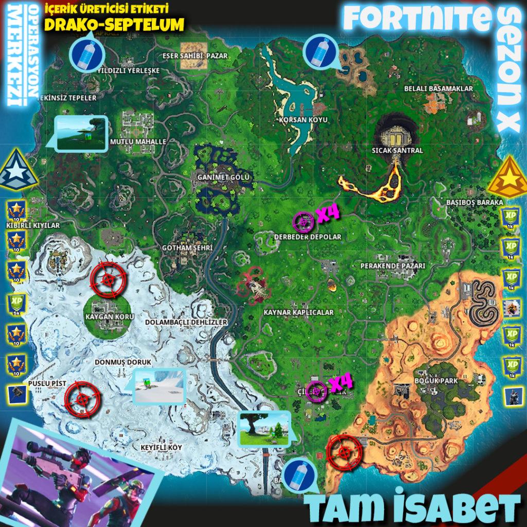 Fortnite Sezon X Tam İsabet Görev Haritası