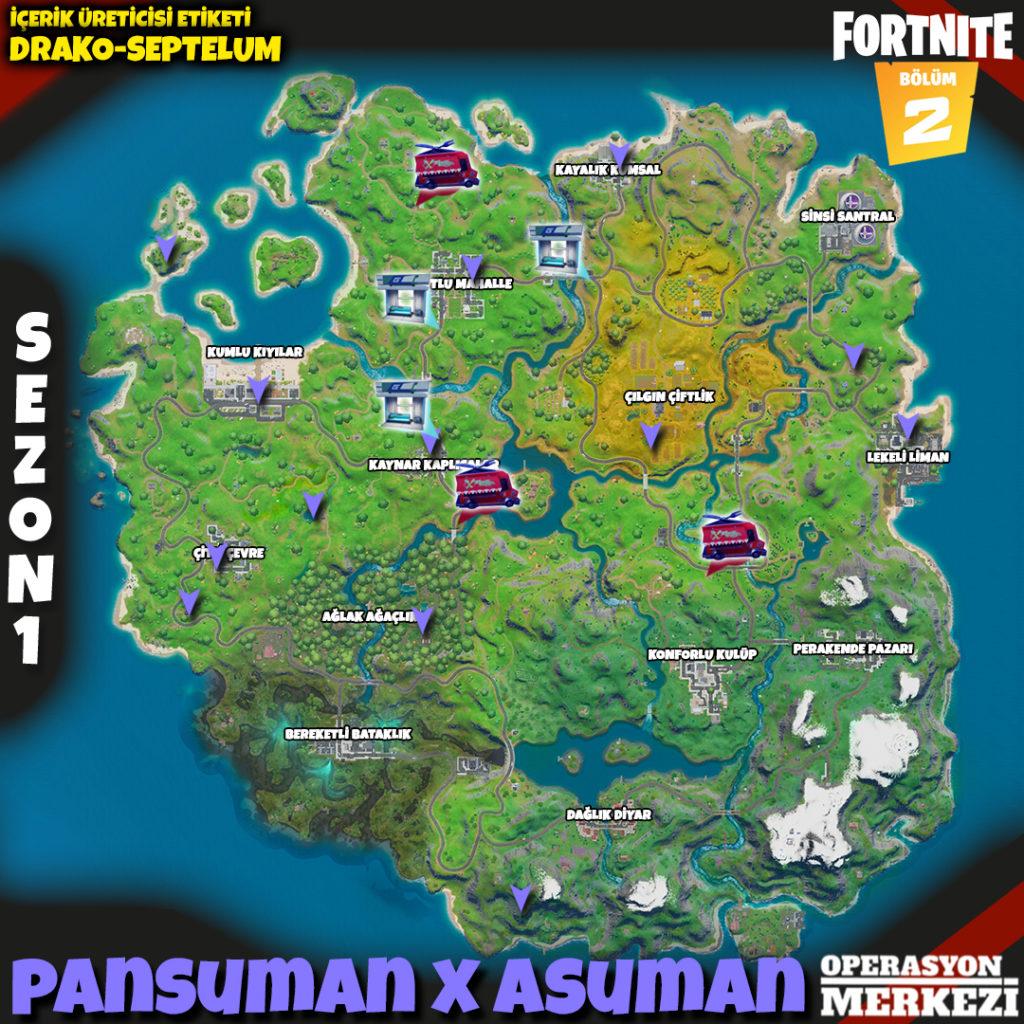 Fortnite Bölüm 2 Sezon 1 Pansuman X Asuman görev haritası